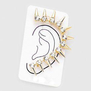 Gold & Crystal Rhinestone Spike Ear Cuff Earring
